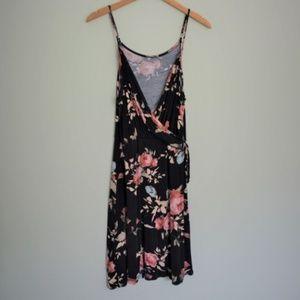 Francesca Alya Floral Wrap Dress Navy (Size M)